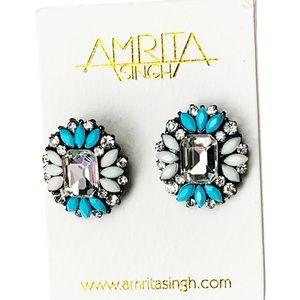 Amrita Singh Ivory & Teal Crystal Stud Earrings